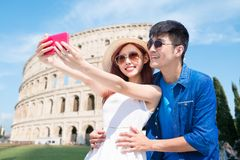 Couple selfie happily in Italy stock image