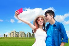 Couple travel to stonehenge royalty free stock photo