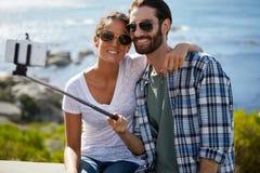 Couple selfie taken near the ocean Royalty Free Stock Image