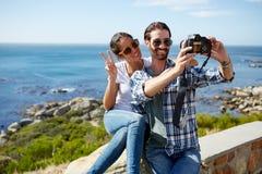 Couple selfie taken near the ocean Royalty Free Stock Images