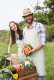 Couple selling organic vegetables at market. On a sunny day Royalty Free Stock Photo