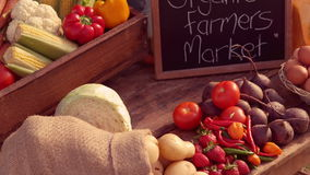 Couple selling organic vegetables at market stock footage