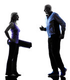 Couple senior fitness exercises silhouette Stock Photos