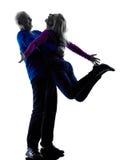Couple senior happy joy wellness silhouette Stock Photos