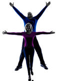 Couple senior jumping happy silhouette Royalty Free Stock Photo