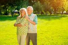 Couple of senior people outdoors. Stock Photography