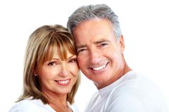 Couple. Senior smiling couple in love. Over white background Stock Image