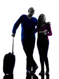 Couple senior travelers traveling silhouette Royalty Free Stock Images