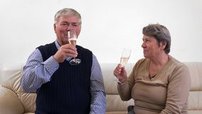 Couple of seniors with Champagne glasses celebration, happy grandparents, cheers. UHD 4K stock footage