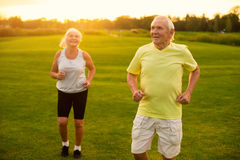 Couple of seniors jogging. royalty free stock photos
