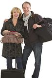 Couple of seniors ready for departure Stock Photography