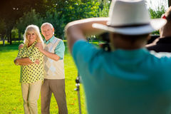Couple of seniors standing outdoor. Royalty Free Stock Image