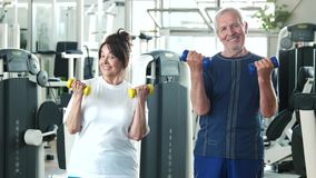 Couple of seniors training at gym. Smiling older people exercising with dumbbells at fitness club. Elderly people and sport stock footage