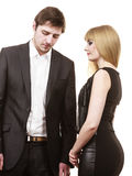 Couple in separation after argue. Argument and disagreement concept. Young elegant marriage with troubles problems. Depressed thoughtful worried couple after Stock Images