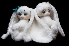 Couple sewn rabbits Stock Images