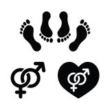 Couple sex, making love icons set. Sex, relationship concept - black icons set, feet in bed, male and female signs Royalty Free Stock Photography
