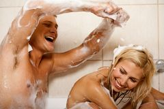 Couple sharing a bath Royalty Free Stock Image