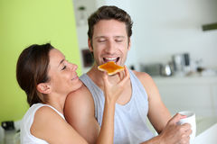 Couple sharing breakfast Stock Photos