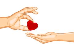Couple sharing Heart. Illustration of male and female handsgiving heart on isolated background Royalty Free Stock Photos