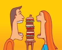 Couple sharing a huge hamburger Royalty Free Stock Photos