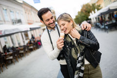 Couple sharing ice cream outdoors Royalty Free Stock Images