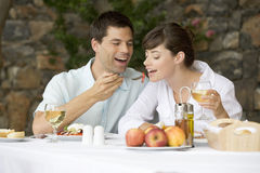 A couple sharing a romantic meal Stock Photography