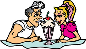 Couple sharing shake. Boy and Girl sharing milkshake Stock Photos