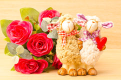Couple sheep doll Royalty Free Stock Image