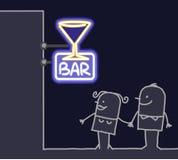 Couple & shop sign - bar. Hand drawn cartoon characters - couple & shop sign - bar Royalty Free Stock Photography