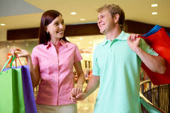 Couple of shoppers Royalty Free Stock Images