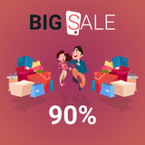 Couple With Shopping Bag Present Box Black Friday Big Sale Banner Stock Photography