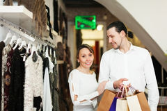 Couple with shopping bags at boutique Royalty Free Stock Photography