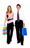 Couple with shopping bags walk Stock Photography