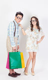 Couple shopping bags on white background. Royalty Free Stock Photography