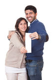 Couple with Shopping Bill Royalty Free Stock Photos
