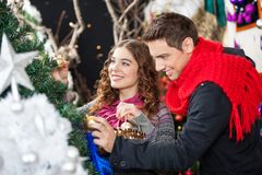 Couple Shopping For Christmas Tree Stock Images