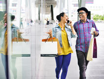 Couple Shopping Dating Enjoyment Consumer Concept Stock Images