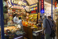 A couple shopping at the famous spice market in Eminonu Royalty Free Stock Image