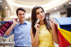 Couple during shopping Royalty Free Stock Photo