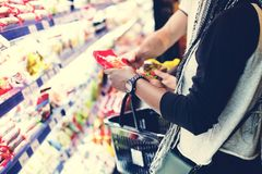 A couple shopping for food stock images