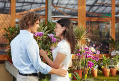Couple shopping in garden center Stock Images