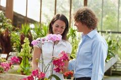Couple shopping in garden center stock photography