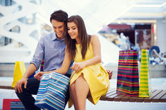 Couple after shopping stock photos