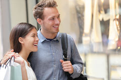 Couple shopping in Hong Kong Central Stock Images