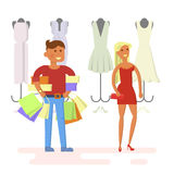 Couple is in shopping mall Royalty Free Stock Images