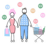 Couple Shopping Man and Woman Walking with Bags Cart Stock Photos