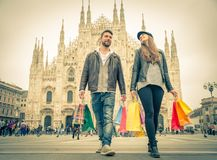 Couple shopping in Milan Stock Photography