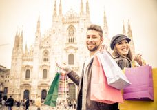 Couple shopping in Milan Stock Images