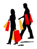 Couple Shopping is original artwork. Royalty Free Stock Photo