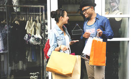 Couple Shopping Outdoors Store Lifestyle Concept Royalty Free Stock Photo